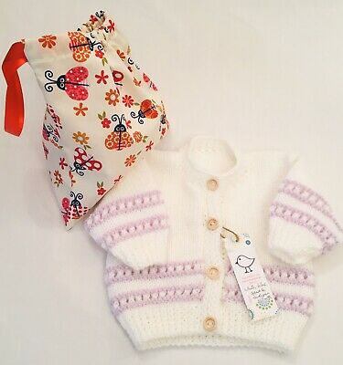 Kiddashery Baby Girls White 0-3 Mths Cardigan Hand Knitted, Sparkle Lilac