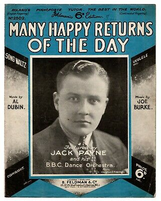 "JACK PAYNE B.B.C DANCE ORCHESTRA ""Many Happy Returns Of The Day"" [SHEET MUSIC]"