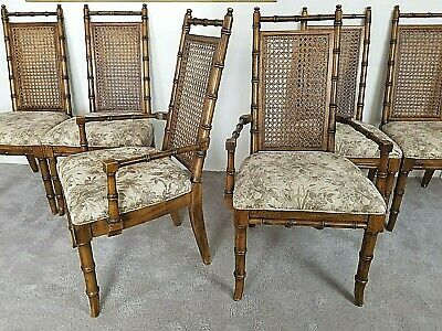 Set of 6 Vintage Asian Style Faux Bamboo Cane Back Upholstered Oak Dining Chairs
