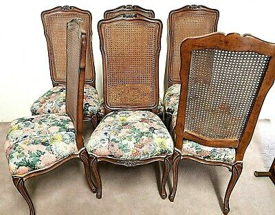 (6) Vintage Country French Louis XV Hand Carved Walnut Cane Back Dining Chairs