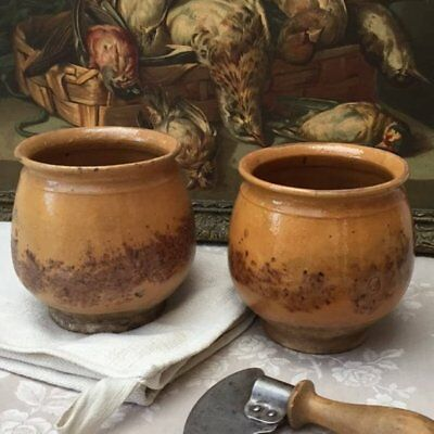 "Rare Pair Antique FRENCH Small CONFIT POTS JAR Old Sponge Country Pottery 4.75""H"