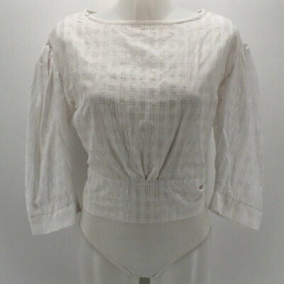 Tach White Sheer Eindhoven Top Handmade Blouse Size Large
