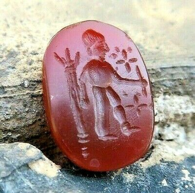 OLD Carnelian Roman Intaglio NEPTUNE God of Sea with Trident Signet Stamp Stone
