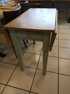 ANTIQUE PINE FARMHOUSE KITCHEN STYLE Drop Leaf TABLE - WITH DRAWERS