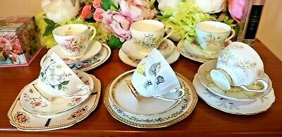 6 x Tea Set Trios Mismatched Tuscan Roslyn Aynsley etc 18 Pce Tea Set Job Lot