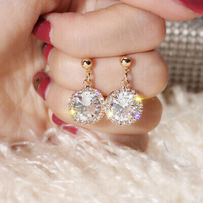 Round Cut White Sapphire Drop/Dangle Earrings CZ 925 Silver Filled Party Jewelry
