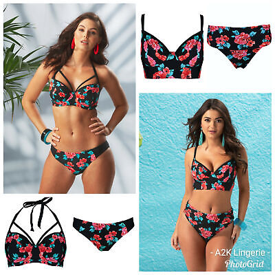 37f6b8f446 Pour Moi Reef Black/Red Non Padded Longline Bikini Top or Tab or Fold Brief