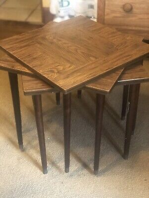 MID CENTURY MCM Vintage Modern STACKING TABLES with tapered legs set of 3 1960s