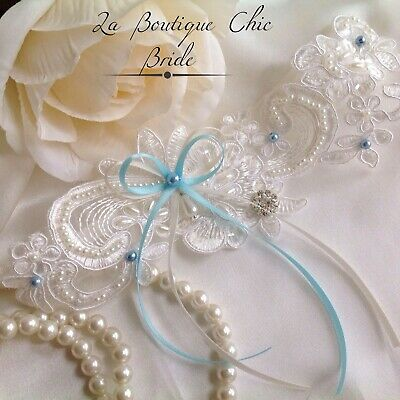 Beautiful delicate Ivory Lace & blue Pearl Satin Bow Bridal Wedding Garter Bride