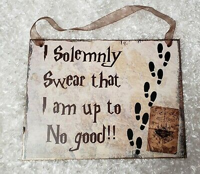 """Harry Potter theme """"I solemnly swear...."""" chipboard sign wall hanging decor"""
