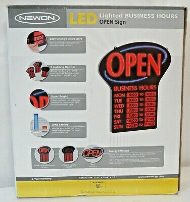 NEWON LED Lighted Business Hours OPEN Sign  3 Lighting Options Static Stick #'s