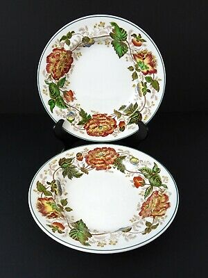 Vintage Pair of Wedgwood Surrey Rust Rim Soup Bowls Yellow Red Flowers China