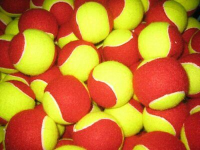 30 USED TENNIS BALLS-VERY GOOD CONDITION-Red & Yellow-WASHED AND SANATISED