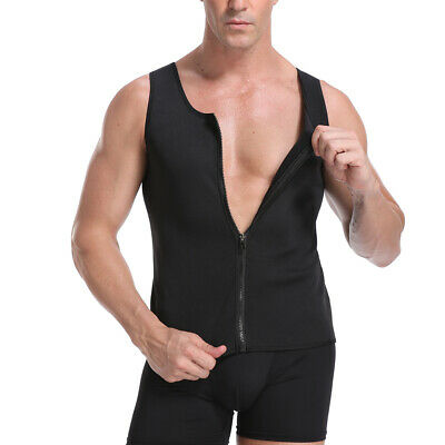 Men Zipper Neoprene Sauna Vest Ultra Sweat Shirt Body Shapers Slimming Tank Top