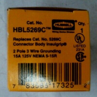 Hubbell Hbl5269C Connector Body Cord Grip Insulgrip 2P 15A 125V -Free Shipping