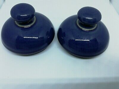 Pair Of Denby Harlequin Large Lidded Storage Jar (Lids Only No Seals)