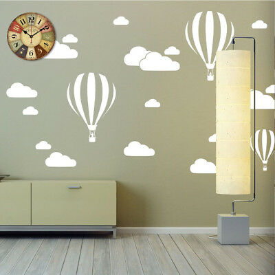 FA- FX- White Clouds Hot Air Balloons Nursery Kids Room Wall Sticker Decal Water