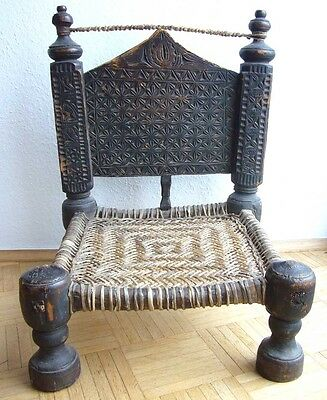 Antiker Stuhl aus Afghanistan, Nuristan, antique wooden chair, Swat, Pakistan