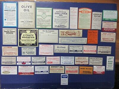 39+Old Pharmacy-Apothecary-Medicine Bottle Labels=Vintage Ephemera Lot==