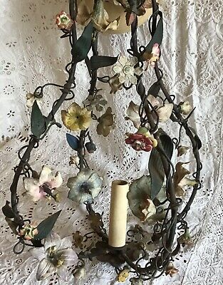 Unusual  Antique Painted Tole Metal, Porcelain Flowers Shabby Aged Chandelier