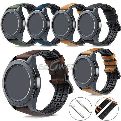 Genuine Leather+Silicone Watch Band Strap For Samsung Galaxy Watch 46/42mm S3 S2