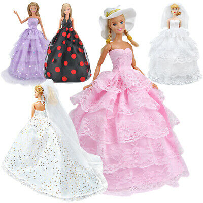 5x For Barbie Doll Clothes Party Gown Outfits Handmade Evening Dress For Girls