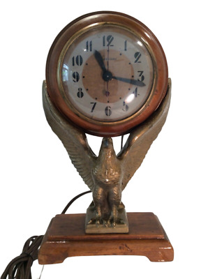 SESSIONS MASTER CRAFTERS, American Eagle Electric Mantel Clock, Wood/Gold, Works