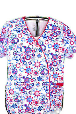 f2a3690c431 Green Town Scrub Top V Neck White w Multi Color abstract Novelty Floral  Large