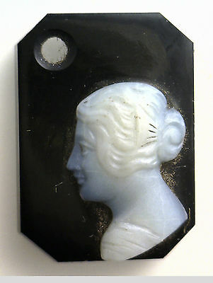 Antique Vintage Victorian Black & White Octagon Rect. Cameo Drilled Stone #AA112