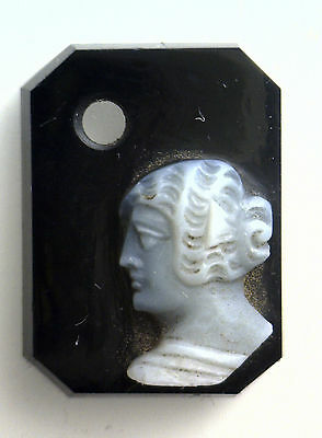 Antique Vintage Victorian Black & White Octagon Rect. Cameo Drilled Stone #AA110