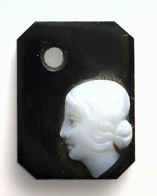 Antique Vintage Victorian Black & White Octagon Rect. Cameo Drilled Stone #AA109
