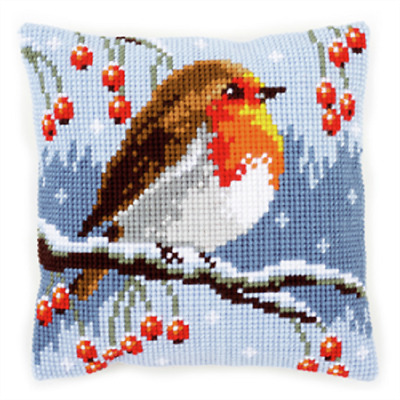 Winter Robin Large Holed Printed Tapestry Canvas Cushion Kit/Chunky Cross Stitch