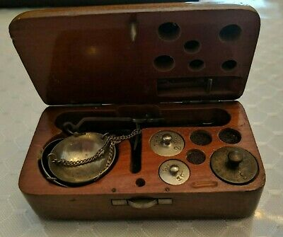Antique Small Victorian Scale Jewelry Pharmacy Apothecary in Wooden Box #K520