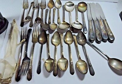 Antique 1847 Rogers Bros Adoration Pattern 5 pc Setting for 4 Plus extras #7AA