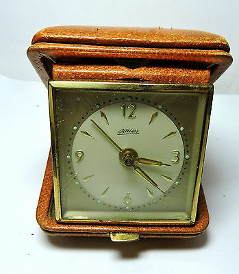 Antique Vintage  Wind Up Made in Germany KAISER Travel Alarm Clock & Hard Case