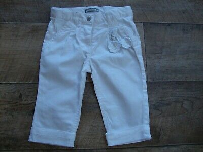 Vertbaudet Baby Girls White Turn-up Trousers size 9-12 months