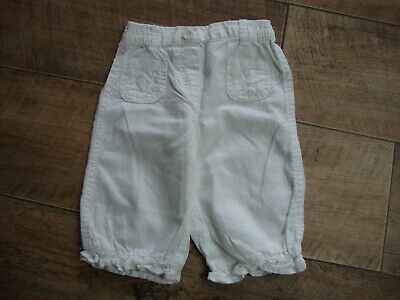 Next Baby Girls White Linen Blend Trousers size 3-6 months
