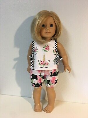 """Unicorn Rose Summer Shorts Outfit Fit American Girl 18"""" Doll"""