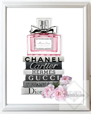 Chanel Miss Dior Fashion Faux Glitter Perfume Bottle Art Picture - A4 Print