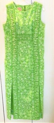 ac16f2f94b8dd6 Vintage LILLY PULITZER Maxi Dress Piping and Ruched Trim Green White Floral  M