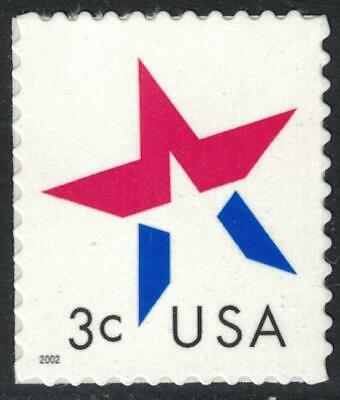 Scott 3613- Star, Year at Lower Left- MNH (S/A) 3c 2002- unused mint stamp