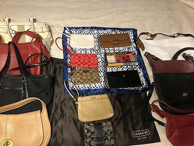 Lot Of 18 Pcs Assort Coach Vintage Leather Purses & Wallets & Dust Cover & Scarf