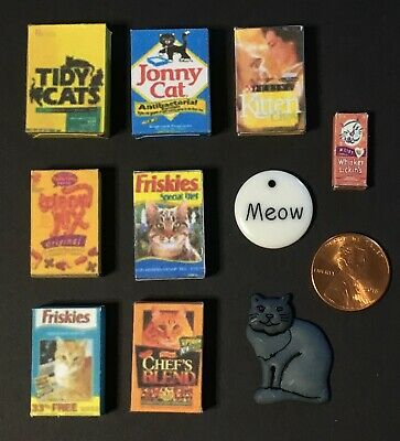 Big Lot of Dollhouse Miniatures for the Family Cat