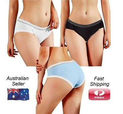 Womens Cute Cotton Briefs with Sexy Lace Trim Size 6 to 14
