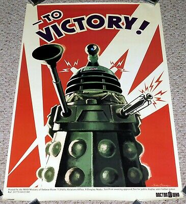 Doctor Who TV Show DALEK TO VICTORY Propaganda Poster BBC 1996 24x36 Daleks