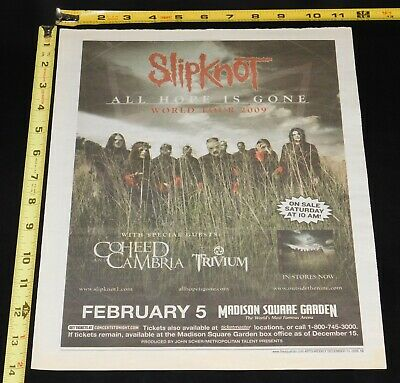 SLIPKNOT All Hope Is Gone Tour NYC MSG 2008 Concert Ad Mini Poster Nu Metal