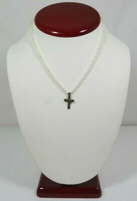 """White Seed Pearl & Sterling Silver Claddagh Christian Cross Pendant Necklace 14"""""""
