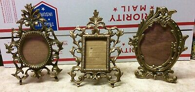 Lot of 3 Antique Vintage Victorian Brass Ornate Picture Frames Stunning!!!