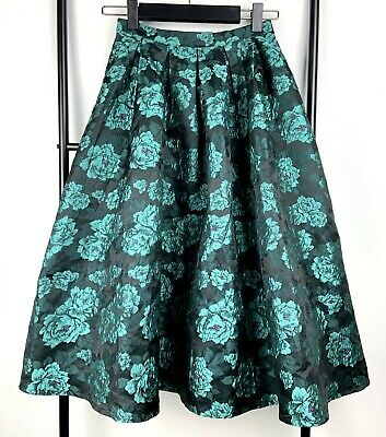 366b60c1e1 Missguided 6 black green metallic floral midi skirt vintage style party  formal