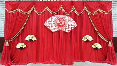 LB Wedding Stage Chinese Style Decor Red Background Swag Curtain Fabric Backdrop